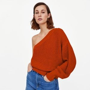 NWT Zara Knit One Shoulder Orange Sweater